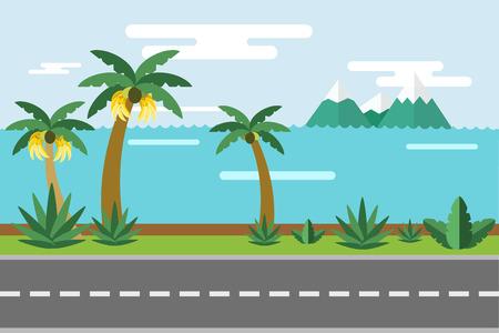 sun road: Beautiful colorful summer seascape illustration.