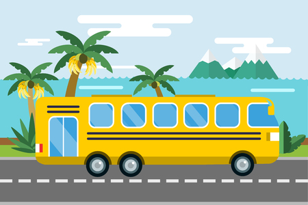 bus stop: City bus cartoon style vector.  Illustration