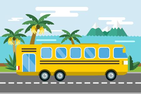 City bus cartoon style vector.  Illustration