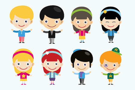 asian and indian ethnicities: Vector cute cartoon boys and girls together.  Illustration
