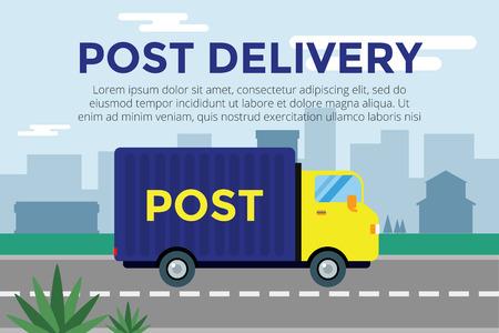 delivery:  Delivery service van.  Illustration