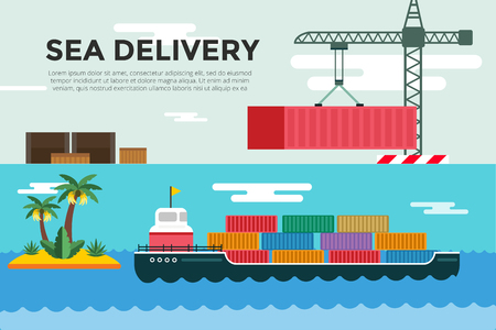 loading dock: Vector transportation concept illustration. Sea shipping in dock terminal. Crane, box, sea, ship, delivery. Transport ship sea view. Sea delivery ship with crane,  boxes, port station. Global delivery ship concept Illustration