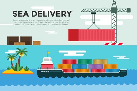 cargo ship: Vector transportation concept illustration. Sea shipping in dock terminal. Crane, box, sea, ship, delivery. Transport ship sea view. Sea delivery ship with crane,  boxes, port station. Global delivery ship concept Illustration