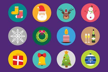 new ball: Christmas vector icons set. Stock Photo