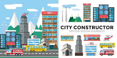hospital cartoon: Buildings and city transport flat style illustration.