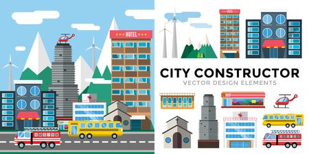 hospital dibujo animado: Edificios y transporte de la ciudad ilustración estilo plano.