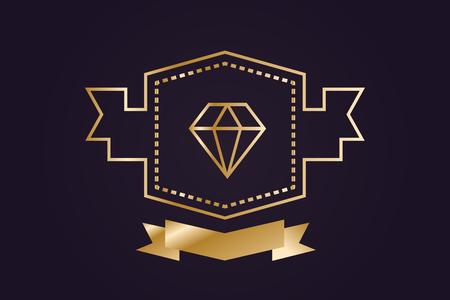 diamante: Diamond icono del objeto. Vintage de diamantes de estilo retro.