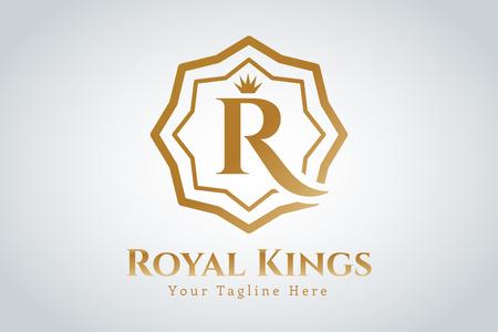 corona real: Plantilla Real vector logo. estilo moderno de la vendimia
