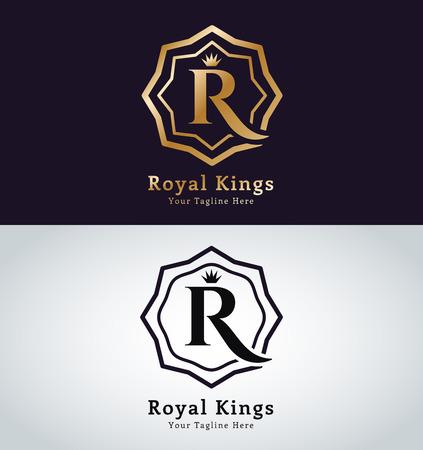 gold letter: Kings symbol. Royal crests monogram.