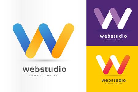W logo icon template.