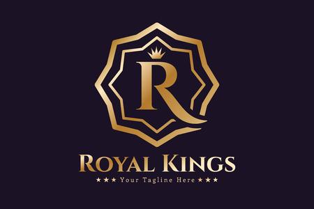 letras de oro: Plantilla Real vector logo. Logo Hotel. Símbolo de Reyes. Crestas Royal monograma. Hotel Reyes Top. Letra R logotipo. Hotel Royal, R Premium boulder, Moda R logotipo, logotipo de Abogado. Corona. estilo moderno de la vendimia
