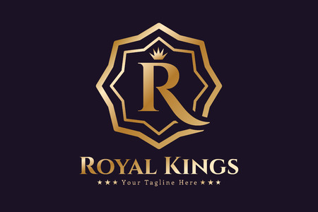 Royal logo vector template. Hotel logo. Kings symbool. Royal toppen monogram. Kings Top hotel. Letter R logo. Royal Hotel, Premium R merk boutique, mode-R logo, Advocaat logo. Kroon. vintage moderne stijl Stockfoto - 46164103
