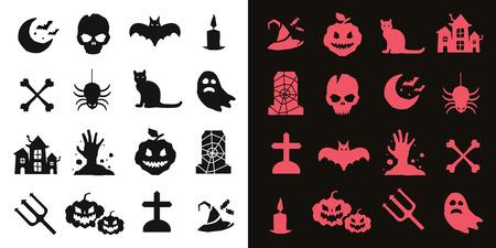 Halloween vector icons set. Pumpkin head, witch broom, candy halloween hat. Black halloween icons set, halloween silhouette for halloween party design. Halloween night, ghost, black cat, zombie