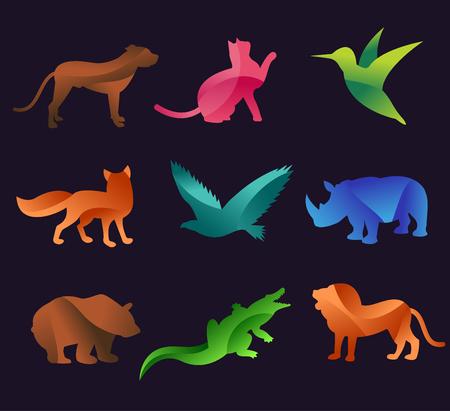 동물: 동물 동물원 벡터 아이콘을 설정합니다. 야생 동물 벡터 컬렉션입니다. 정글 동물, 벡터 동물, 여우, 사자, 원숭이, 고양이 및 개. 바다와 숲 동물 아이콘입니다.