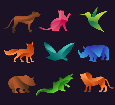 animaux: Vecteur animal de zoo icons set. Les animaux sauvages de collecte de vecteur. Animaux de la jungle, les animaux de vecteurs, le renard, le lion, singe, chat et de chien. Mer et animaux de la forêt icône.