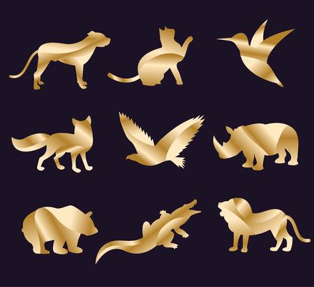lion dessin: Vecteur animal de zoo icons set. Les animaux sauvages de collecte de vecteur. Animaux de la jungle, les animaux de vecteurs, le renard, le lion, singe, chat et de chien. Mer et animaux de la forêt icône.