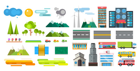 public market: Buildings and city transport flat style illustration. Flat design city downtown background. Roads and city buildings, sky and mountains. Architecture small town market, hospital, church, shop, bus, fire truck, helicopter