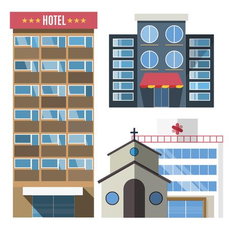 벡터 건물이 설정합니다. skyscrappers 일이 작은 집은 흰색 배경에 고립입니다. 은행, 시장, 병원, 호텔, 교회, 상점. 도시 생성자 디자인 요소, 마천루 벡