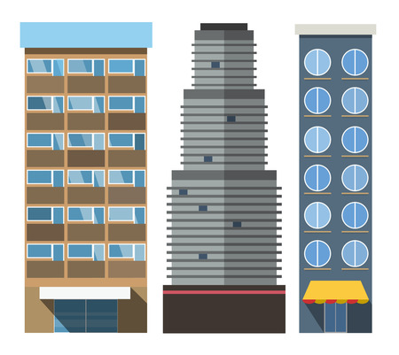 constructor: Vector buildings set. Skyscrappers, small house isolated on white background. Bank, market, hospital and hotel, church, shop. City constructor design elements, skyscraper vector, buildings vector, buildings constructions Illustration