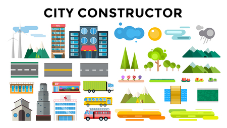 small town: Buildings and city transport flat style illustration. Flat design city downtown background. Roads and city buildings, sky and mountains. Architecture small town market, hospital, church, shop, bus, fire truck, helicopter