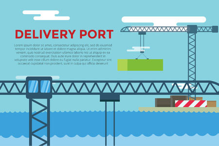 docks: Sea transportation logistic port infographics. Vector transportation concept illustration. Sea shipping dock port terminal. Port, crane, box, sea, ship, delivery. Transport port sea view. Sea delivery port crane,  boxes, port station. Global delivery ship Illustration