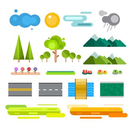 風景: アイコンを設定するコンス トラクターを風景します。建物の家、木と建築サイン マップ、ゲーム、テクスチャ、山、川、太陽します。ホワイトのデザイン要素分