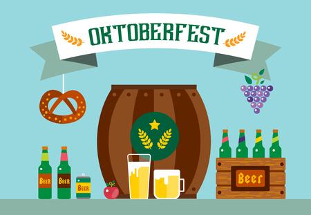 oktoberfest: Oktoberfest celebration vector background poster. Oktoberfest vector illustration background text. Beer Oktoberfest German festival vector background. Keg of beer, bottle beer box. Oktoberfest poster