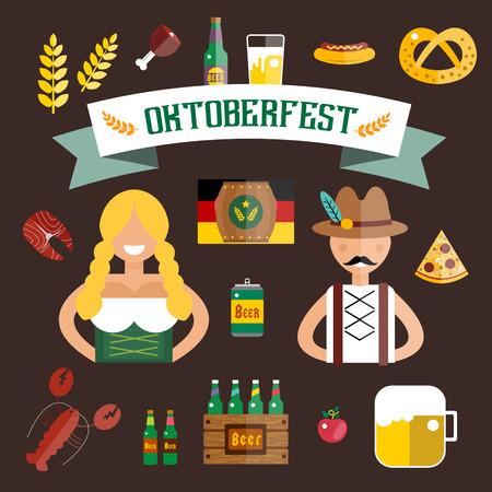 Set of flat Oktoberfest vector icons. Bottle Beer, Food and Drinks. Oktoberfest traditional German Oktoberfest festival icons, flat icons. Oktoberfest vector flat icons set. Food and drinks icons Illustration