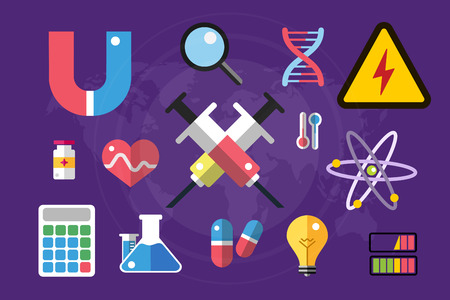 science icons: Science lab icons isolated. Science vector icons set. Education, laboratory icon, lab icons, science icons, microscope. Molecular symbols, atom, planet, chemistry vector icons. Technology vector icons Illustration