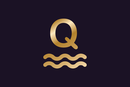 twirls: Q letter vector. Q logo icon monogram. Q symbol silhouette. Q isolated icon, Q line style letter, Q logotype, Q logotype, Q modern symbol, Q company brand name. Sea waves, sailor, round, circle, twirls