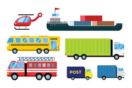 Transport levering vector vrachtwagens geïsoleerd op wit. Vervoer auto, bus, vrachtwagen, bestelwagen, brand vrachtwagen, stad auto, helikopter, mini-auto, bestelwagen vrachtwagen. Bestelwagen vector silhouet. Vector auto iconen