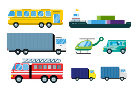 mini car: Transport delivery vector trucks isolated on white. Transportation cars, bus, truck, van, fire truck, city cars, helicopter, mini car, van truck. Delivery van vector silhouette. Vector car icons