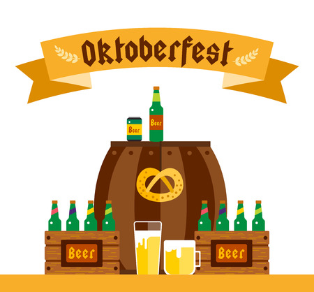 oktoberfest background: Oktoberfest celebration vector background poster. Oktoberfest vector illustration background text. Beer Oktoberfest German festival vector background. Keg of beer, bottle beer box. Oktoberfest poster