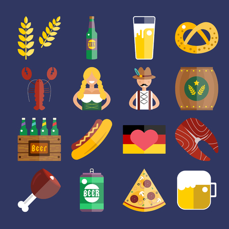 beer bottle: Set of flat Oktoberfest vector icons. Bottle Beer, Food and Drinks. Oktoberfest traditional German Oktoberfest festival icons, flat icons. Oktoberfest vector flat icons set. Food and drinks icons Illustration