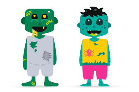 Monster zombie cartoon characters isolated vector silhouette. Cartoon monsters, zombie cartoon flat. Halloween costume character, halloween zombie comic bubble. Monster kids costume, zombie cartoon Vetores
