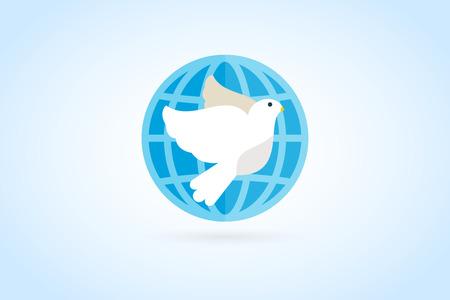 paloma: Logotupe vectorial Dove. Logotipo de la paloma. Símbolo de la paloma. Pájaro monograma paloma. Paz mundo de las aves. Vector logo Bird. Logotipo de la paloma silueta, logotipo de la marca Globe unión, logotipo clínica de atención, el concepto logo unión Vectores