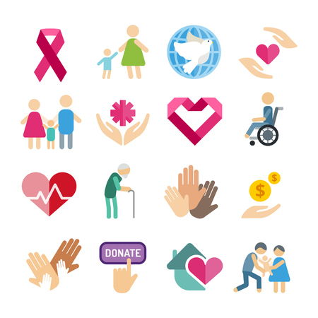Charity flat icons set Vectores