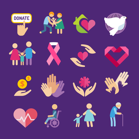 care in the community: Charity flat icons set Illustration