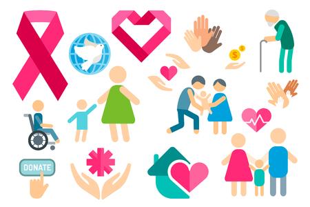 Charity flat icons set Vettoriali