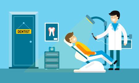 Tandartsbureau illustratie. Tandarts arts en patiënt met kiespijn vector. Tandheelkundige zorg, tand zorg instrumenten, arts kantoor, tand orale borstel tandpasta. Tandheelkundige kliniek illustratie vector