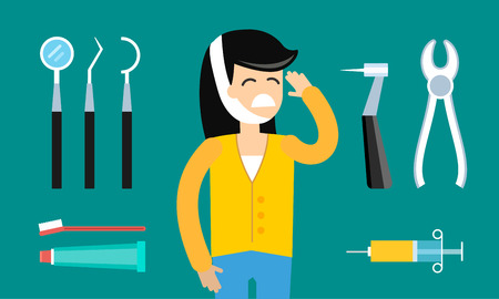 a dentist: Dentist doctor tools illustration. Dentist patient girl with toothache vector. Dental care, tooth care tools, doctor office, tooth oral brush toothpaste. Dental clinic tools illustration vector