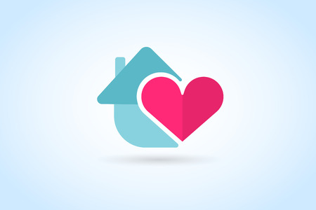 Green house home vector logo. House logo. Nature house logo. Home house heart mortgage. Heart love, banking loan house, royalty. Realty logo, mortgage. Real estate. Lawyer office. Development logo. Bank Stok Fotoğraf - 46430321