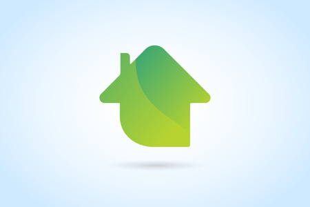 homes exterior: Green house home vector logo. House logo. Nature house logo. Home house roof and mortgage, banking, loan house, royalty. Realty logo, mortgage. Real estate. Lawyer office. Development logo. Bank Illustration