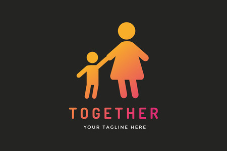 child care: Happy family vector logo template, Baby and mother, family care logo. Child holding mother hands. Care logo, union family logo concept. Family logo, family vector icon. Happy family logo