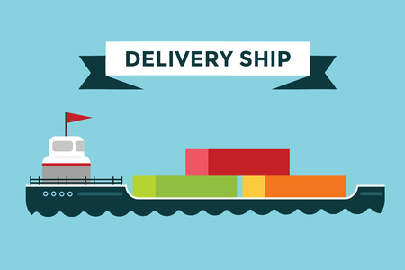 dock: Vector transportation concept illustration. Sea shipping in dock terminal. Crane, box, sea, ship, delivery. Transport ship sea view. Sea delivery ship with crane,  boxes, port station. Global delivery ship concept Illustration