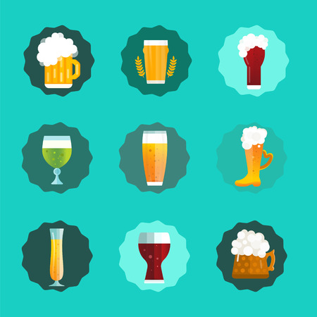 beer pint: Beer vector icons set. Beer bottle, beer glass and beer label. Beer cups silhouette, beer vector icons, beer isolated. Oktoberfest beer vector set. Beer drink, beer sign, beer pub alcohol