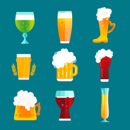 octoberfest: Beer vector icons set. Beer bottle, beer glass and beer label. Beer cups silhouette, beer vector icons, beer isolated. Oktoberfest beer vector set. Beer drink, beer sign, beer pub alcohol