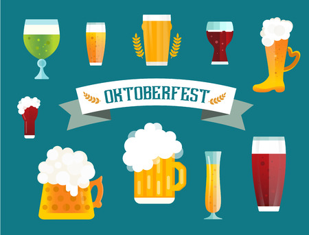 glasses of beer: Beer vector icons set. Beer bottle, beer glass and beer label. Beer cups silhouette, beer vector icons, beer isolated. Oktoberfest beer vector set. Beer drink, beer sign, beer pub alcohol