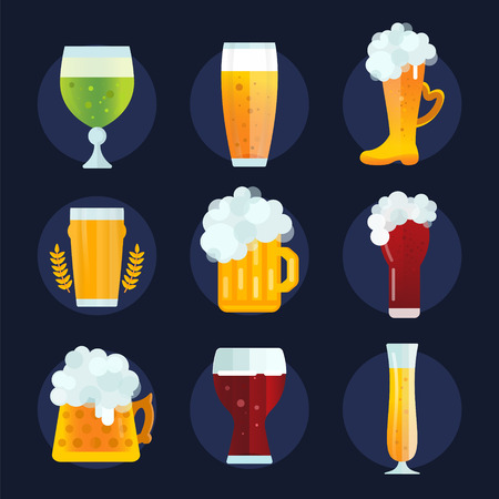 beer label design: Beer vector icons set. Beer bottle, beer glass and beer label. Beer cups silhouette, beer vector icons, beer isolated. Oktoberfest beer vector set. Beer drink, beer sign, beer pub alcohol