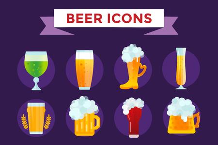 Beer vector icons set. Beer bottle, beer glass and beer label. Beer cups silhouette, beer vector icons, beer isolated. Oktoberfest beer vector set. Beer drink, beer sign, beer pub alcohol Stock Vector - 46480517